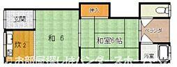 大阪府枚方市西牧野2丁目の賃貸アパートの間取り