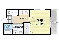 ザ・ラフェーネ茨木 3階1Kの間取り