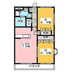 愛知県名古屋市中川区中郷5の賃貸マンションの間取り