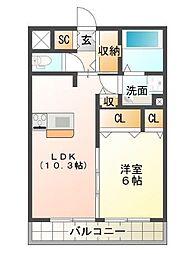 兵庫県神戸市垂水区福田1丁目の賃貸アパートの間取り