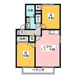ひまわりハイツ A棟[1階]の間取り