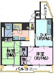 長岡京シティハイツ[206号室]の間取り