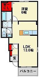 JR鹿児島本線 折尾駅 6.8kmの賃貸アパート 1階1LDKの間取り