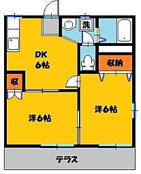 鶴田ローズタウンB[1階]の間取り