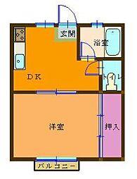 神奈川県横浜市鶴見区北寺尾3丁目の賃貸アパートの間取り