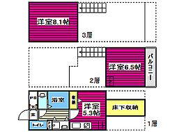 レジディア仙台一番町 13階2DKの間取り