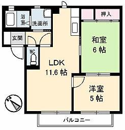 山口県山陽小野田市住吉本町2の賃貸アパートの間取り