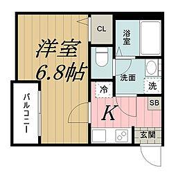 千葉県千葉市中央区長洲2丁目の賃貸アパートの間取り