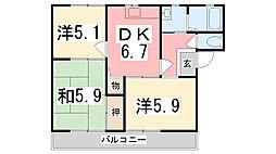 マインドハイツ辻井A棟[202号室]の間取り