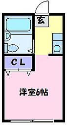 南海高野線 北野田駅 徒歩5分の賃貸アパート 2階1Kの間取り