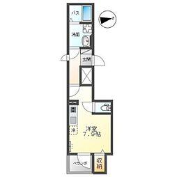 広島電鉄5系統 比治山橋駅 徒歩7分の賃貸マンション 2階ワンルームの間取り