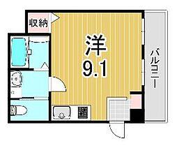 ヒマワリマンション 2階ワンルームの間取り