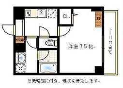 JR宇野線 大元駅 徒歩6分の賃貸マンション 10階1Kの間取り