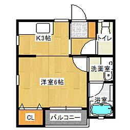東武伊勢崎線 館林駅 徒歩3分の賃貸アパート 1階1Kの間取り