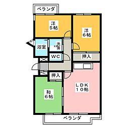 グリーンサイドハウスN棟[3階]の間取り