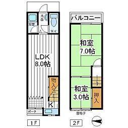 [一戸建] 大阪府大阪市阿倍野区相生通 の賃貸【/】の間取り