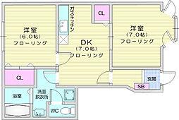 ハイツカトレア2 1階2DKの間取り