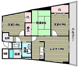 大阪府富田林市五軒家1丁目の賃貸マンションの間取り