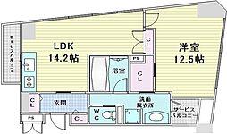 JR大阪環状線 福島駅 徒歩7分の賃貸マンション 4階1LDKの間取り
