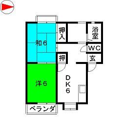 第3ひいらぎコーポ[1階]の間取り