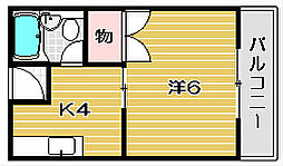 大阪府茨木市稲葉町の賃貸アパートの間取り