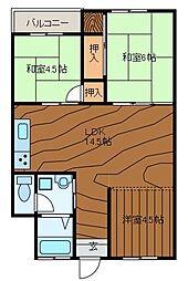 東林間コーポラスA[1階]の間取り