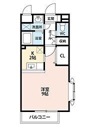 福岡県北九州市小倉南区若園4丁目の賃貸アパートの間取り