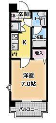 大阪府門真市中町の賃貸マンションの間取り