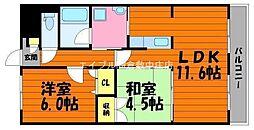 岡山県倉敷市有城丁目なしの賃貸マンションの間取り