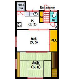 上本町西文化 2階2Kの間取り