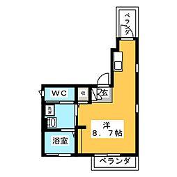 上平間レジデンス 2階ワンルームの間取り