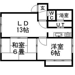 ドゥエル高砂駅前B棟[2階]の間取り