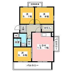 HILLS−T's B棟[1階]の間取り