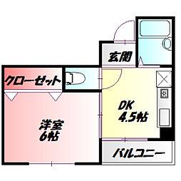 ジュノ藤田 1階1DKの間取り