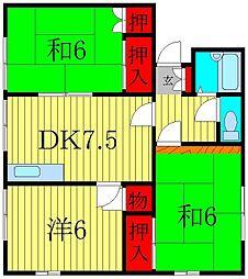 フラットエス2[1階]の間取り