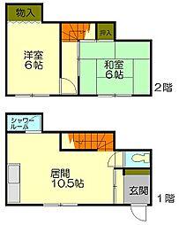[一戸建] 北海道小樽市東雲町 の賃貸【/】の間取り