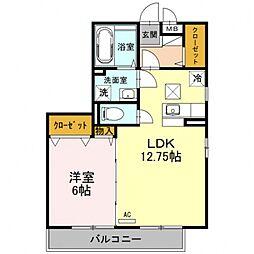 埼玉県熊谷市末広4丁目の賃貸アパートの間取り