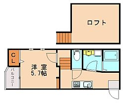 福岡県福岡市東区舞松原2丁目の賃貸アパートの間取り