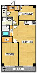 エスポワール西野 2階2LDKの間取り