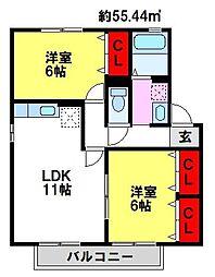 コーポアクセス[2階]の間取り