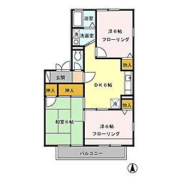 東京都立川市柏町1丁目の賃貸アパートの間取り