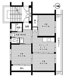 ビレッジハウス佐賀第二1号棟 3階3DKの間取り