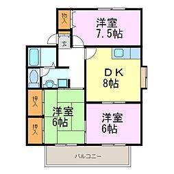 愛知県知多市清水が丘2丁目の賃貸アパートの間取り