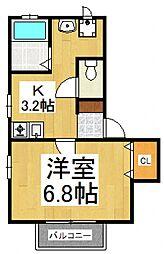 ウエストハウス[1階]の間取り
