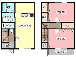 [テラスハウス] 静岡県浜松市中区幸1丁目 の賃貸【静岡県 / 浜松市中区】の間取り