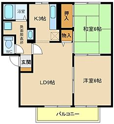 兵庫県明石市大久保町西脇の賃貸アパートの間取り