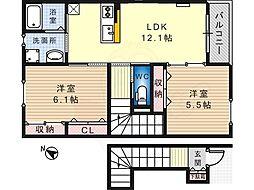 泉北高速鉄道 深井駅 バス12分 田園東下車 徒歩3分の賃貸アパート 2階2LDKの間取り