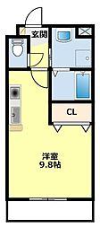 愛知県豊田市浄水町原山の賃貸アパートの間取り
