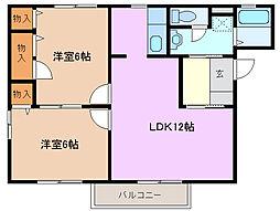三重県四日市市小杉町の賃貸アパートの間取り