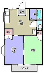 大倉山ハイツエリーナB棟[202号号室]の間取り